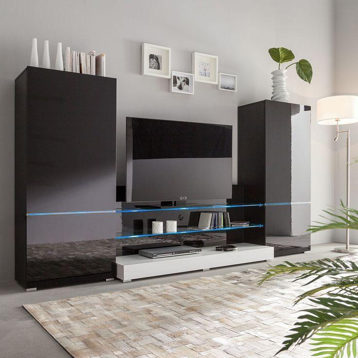 Wohnwand modern schwarz  Die 25+ besten Wohnwand schwarz hochglanz Ideen auf Pinterest | Tv ...
