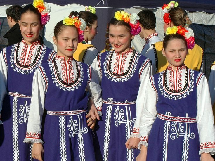 Bulgaria, Yambol, Kukeri Festival, Charming  Bulgarian girls in the Traditional Costume of the Sofia Region