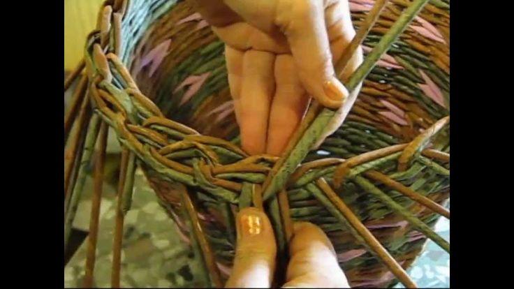 Basket weaving newspaper. How to make the edging. Part 5.1.... TRENZADO