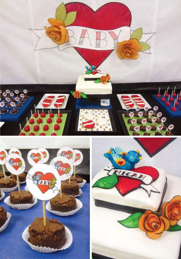 tattoo-baby-shower-dessert-table by Cakewalk Baking