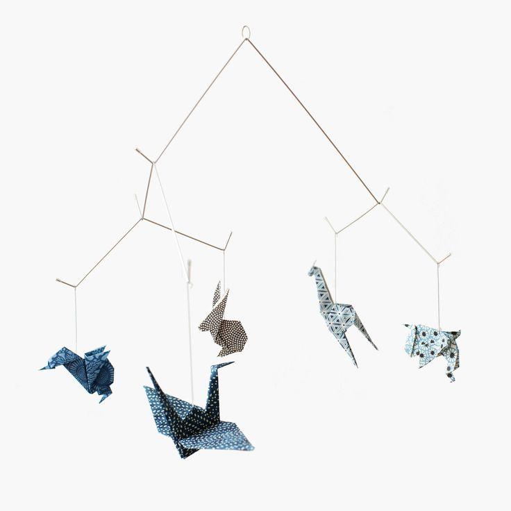 beautifull origami mobile zoo chiyogami via etsy origami mobilepaper mobilecrib