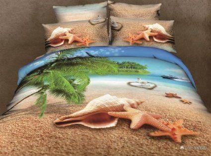 Amazon.com - 4pcs Starfish Sea Shell Beach Queen Size 3d Bedding Set Bedclothes 100%cotton Bed Linen Textile Sheet Set/pillowcase Bedspreads...