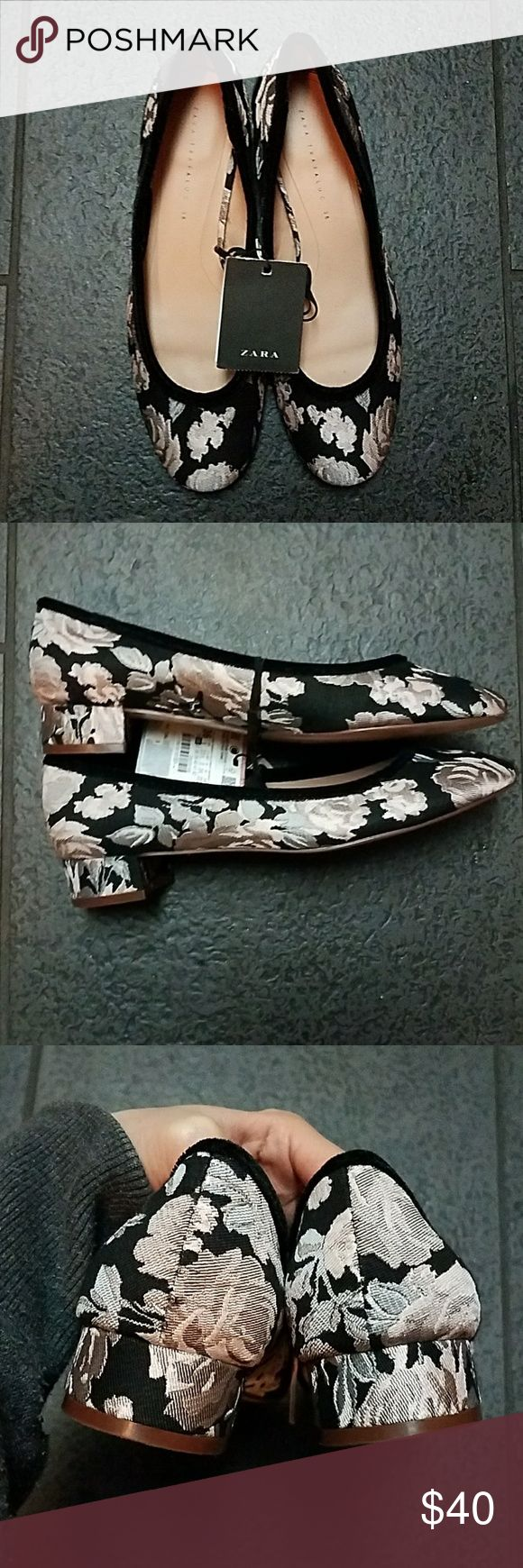 Last chance!Zara Floral Flats with Velvet Trim Nwt! Zara Floral Flats with Velvet Trim  -Beautiful Flats -size 6 Zara Shoes Flats & Loafers