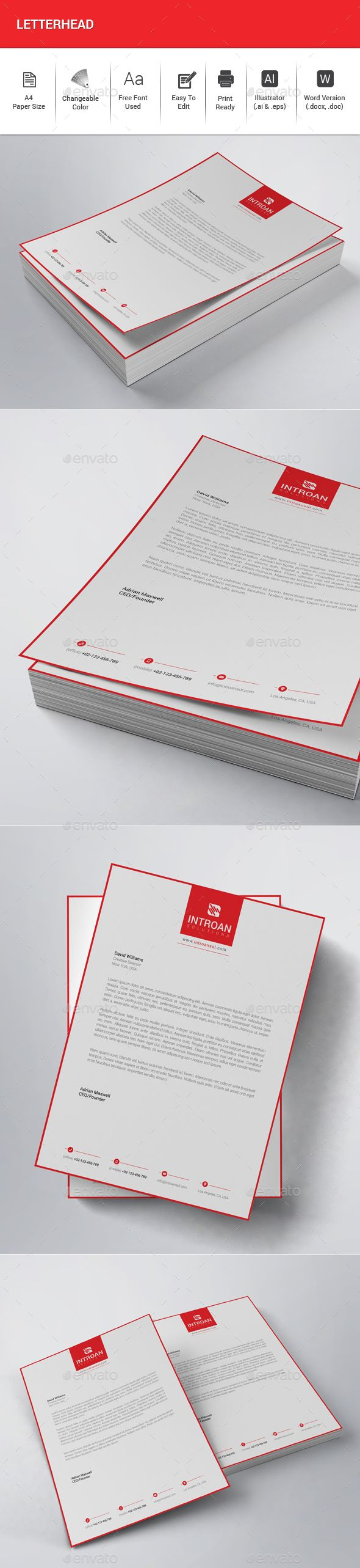 Letterhead - #Stationery #Print Templates Download here: https://graphicriver.net/item/letterhead/20041960?ref=alena994