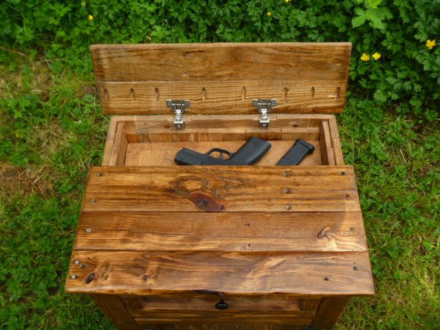 hidden gun reclaimed pallet wood nightstand with hidden gun storage, repurposed night stand, concealed weapon, hidden pistol, free shipping by UpTheCreekRustic on Etsy https://www.etsy.com/listing/181372633/hidden-gun-reclaimed-pallet-wood