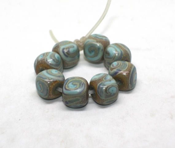 Set 8 Cube Beads 10 mm Copper Green Turquoise Canyon de