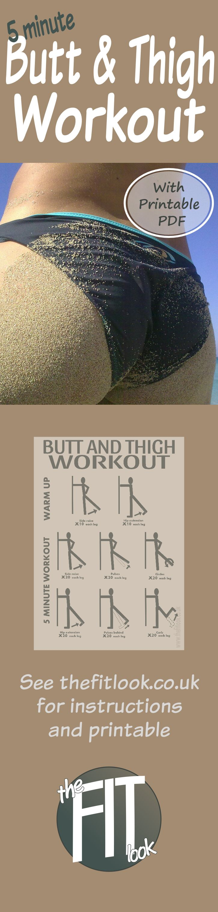 No equipment needed for this quick and easy butt and thigh firming workout and you don't even need to get down on the floor. All you need is a wall for support