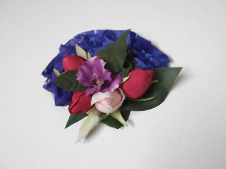 pettine tulle blu e tanti fiori di sognidartebyadalgisa su Etsy