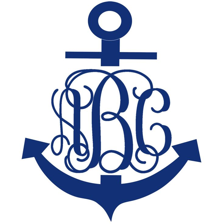 Anchor Monogram Decal with Vine Font - Multiple Colors