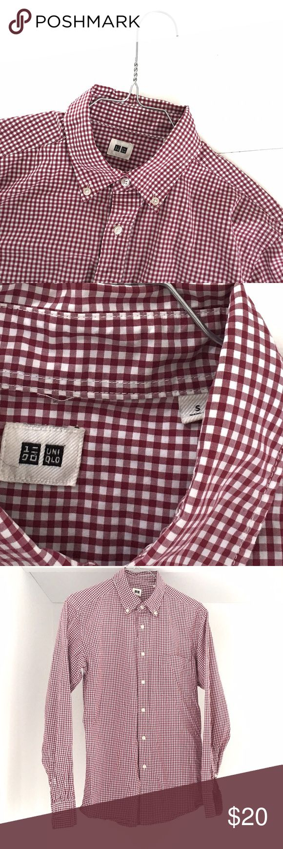 Men's Red Checkered UNIQLO Collared Shirt This shirt is in lovely condition.  We would keep it, but unfortunately it is just a bit too small for my husband to wear comfortably.  Gift this to a brother, a friend, a significant other, or your father!  They would love this piece.  (It goes with nearly anything!) Uniqlo Shirts Dress Shirts
