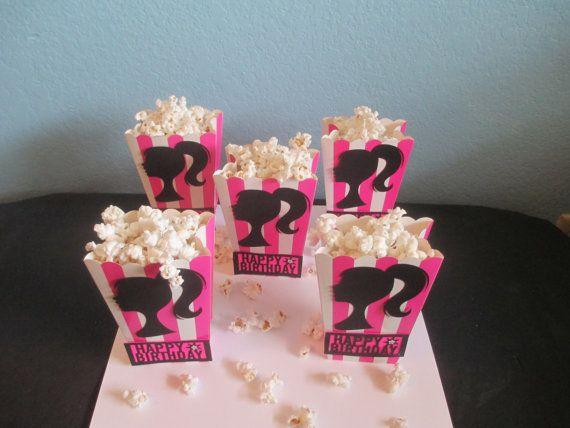 Barbie Hot pink 1 Set of 10 Popcorn Favor Boxes by BehindTheTheme