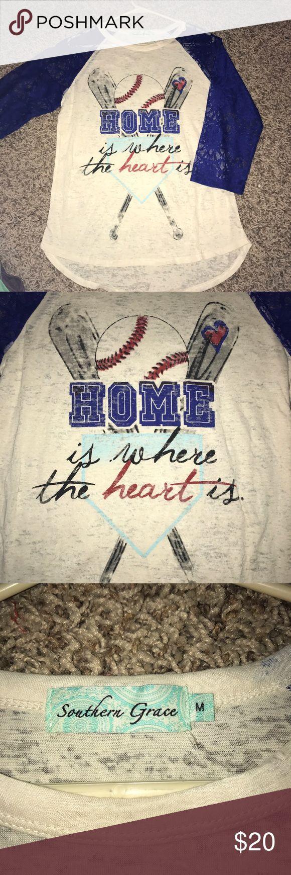 NWOT baseball burnout 3/4 sleeve shirt. Size M NWOT baseball burnout 3/4 sleeve shirt. Size M. Southern Grace brand. Smoke free home. Southern Grace Tops