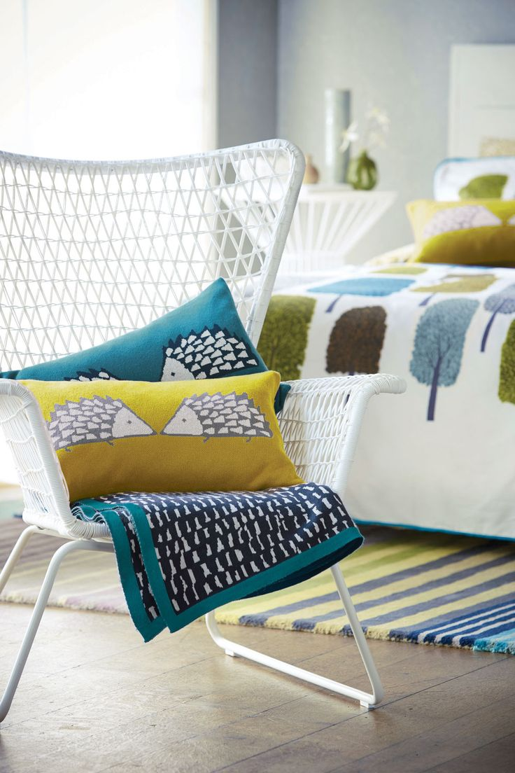 Spike Knitted Cushion Kingfisher cushion by Scion