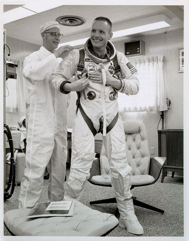 Neil Armstrong getting suited up for his Gemini 8 mission. This is where he learned orbital docking for the moon mission. March, 1966.