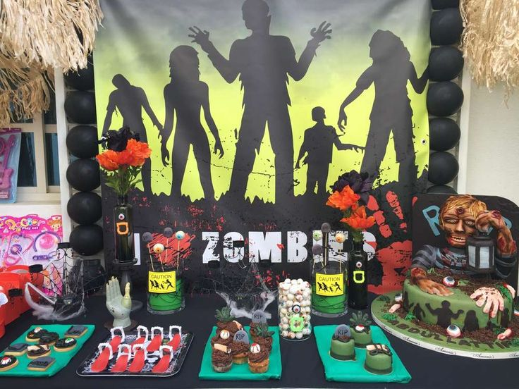 Zombie birthday party! See more party planning ideas at CatchMyParty.com!