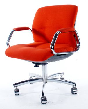 Simple Of Retro Office Desk meeting area Retro Office Chair Description 1970s Groovy Mod Burnt Orange With Chrome On Casters