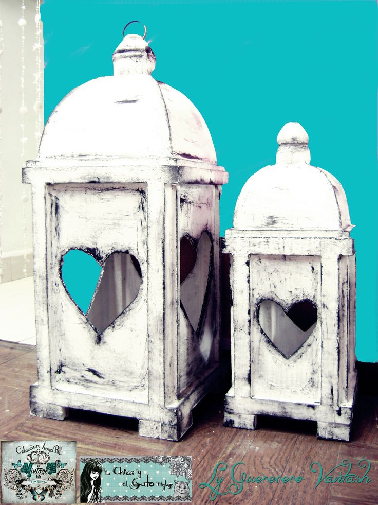 FAROLES VINTAGE  en madera  y material reciclado. super romanticos para iluminar espacios... vale la pena el trabajo que lleva hacerlos .