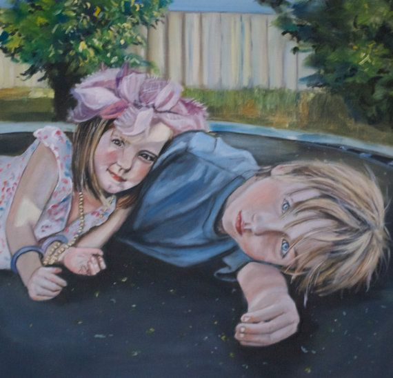 Custom Portrait from photo with background- Kids, Pets, Family - Beautifully painted portrait in oils - 100% guarantee