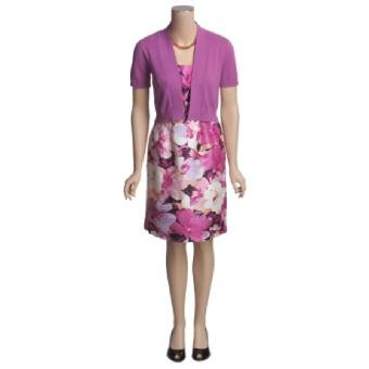 Purple Princess.  That is my mom.  R & K Orchid Print sleeveless dress with Short Sleeve Bolero Sweater. Now at fifty five bucks.