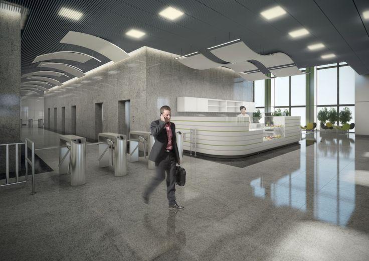 Hole wejściowe - projekt dla Oxford Tower Warszawa / Entrance hallways; Project for Oxford Tower Warsaw