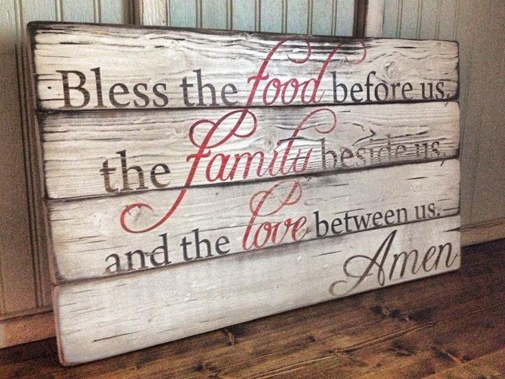 "Approx 24"" x 14"" Perfect to hang in a dining room or Breakfast room. - The sign pictured is hand painted in antique white w/ brown and red accents and then is distressed and sealed for that perfect OY"