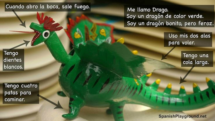 Spanish reading comprehension activity for kids - it also makes a fun Spanish speaking activity! From Spanish Playground.   http://spanishplayground.net/spanish-reading-comprehension-dragon-photo/