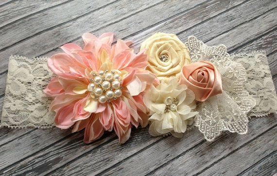 Vintage inspired pink ivory silk lace headband,netting,pink flower headband-newborn, baby,girl headband-photo prop-flower girl- bridal