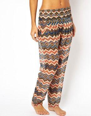 ASOS - Pantalon de plage en mousseline à motif aztèque