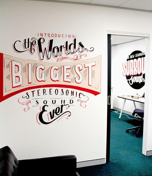 warner music office typography installations.