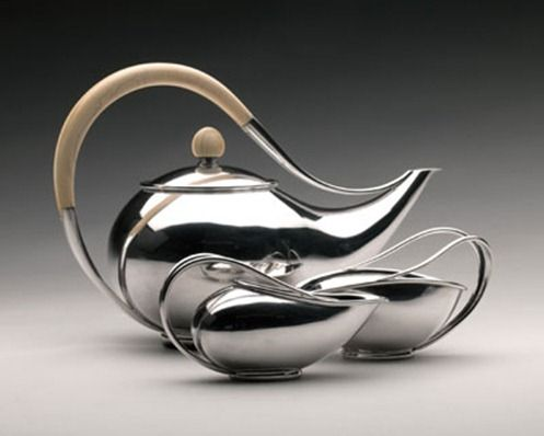 Tea service  c. 1948, Sterling Silver, Ivory handle, Ebony Base. Svend Weihrauch (1899–1962) for Frantz Hingelberg Silversmithy, Aarhus, Denmark