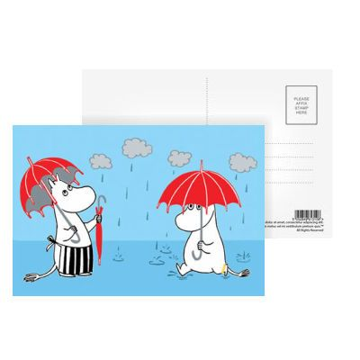Moomin Raining Postcard by Tove Jansson | on StarEditions.com - Wholesale Prints and Gifts
