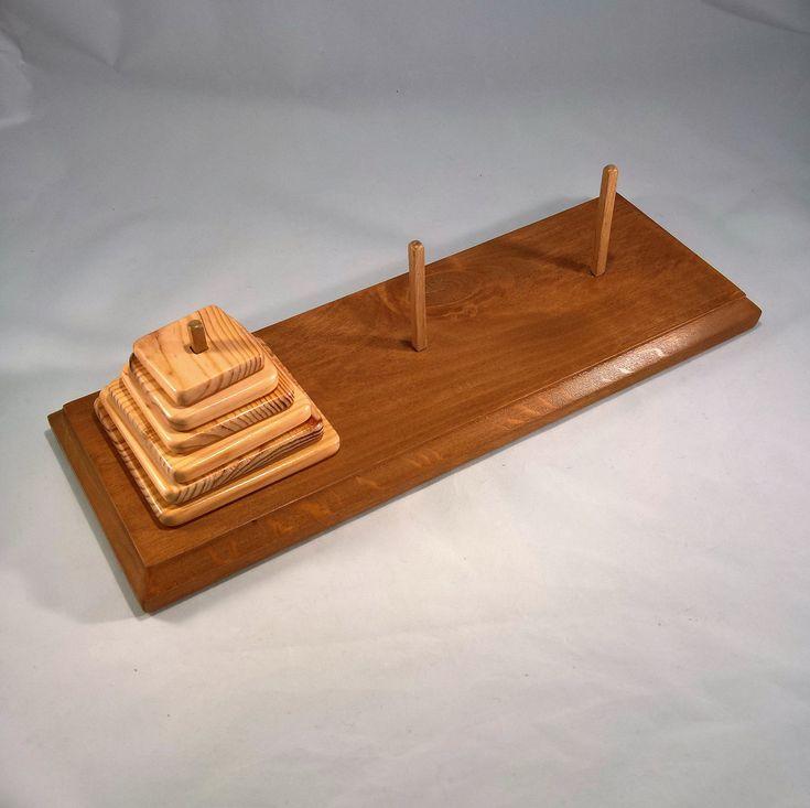 Jeu jouet Montessori, Tour de Hanoï , casse-tête , réflexion, apprentissage pour enfants, plaquettes carrées, plateau rectangulaire,