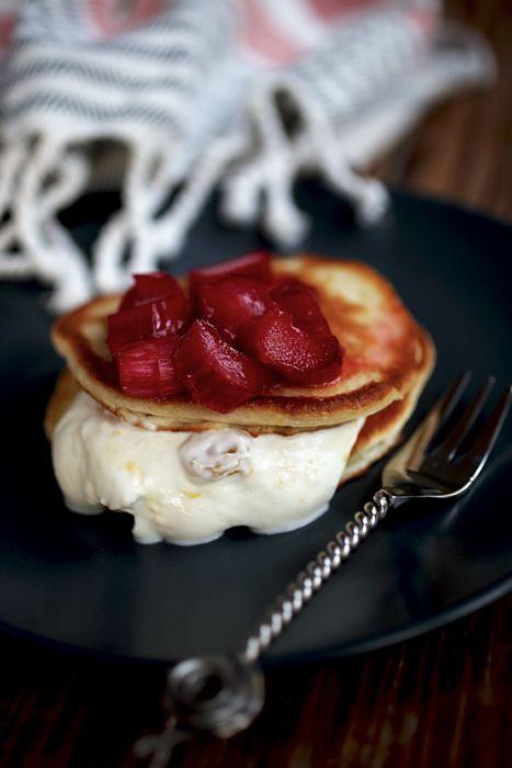 bohemian quark rhubarb pancakes