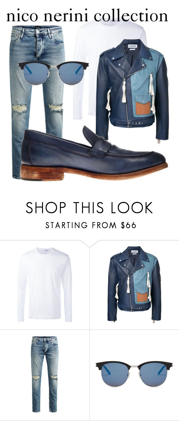"""blue jeans inspiration"" by nico-nerini on Polyvore featuring Comme des Garçons, Loewe, Jos, Yves Saint Laurent, men's fashion e menswear"