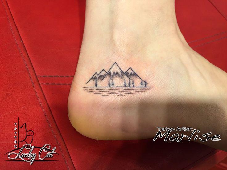Landschap, bergen Tatoeage gemaakt door: Marlise | Lucky Cat Tattoo