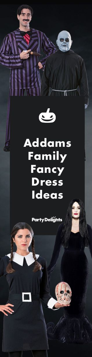 They're creepy and they're kooky, mysterious and spooky... Take a look at our Addams Family fancy dress ideas for a fun Halloween group costume idea. Featuring Gomez, Morticia, Wednesday and Uncle Fester from our great selection of Addams Family costumes.