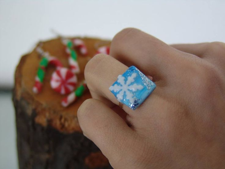 polymer clay christmas ring https://www.facebook.com/ClayMiniGifts/