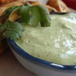 "Amy's Cilantro Cream Sauce   ""This cilantro cream sauce can be used as a dip, or as a sauce for fish or chicken. My husband eats it on everything he can consume! Taste and add additional seasoning if necessary. tomatillo sauce is usually spicy, so be prepared!"""