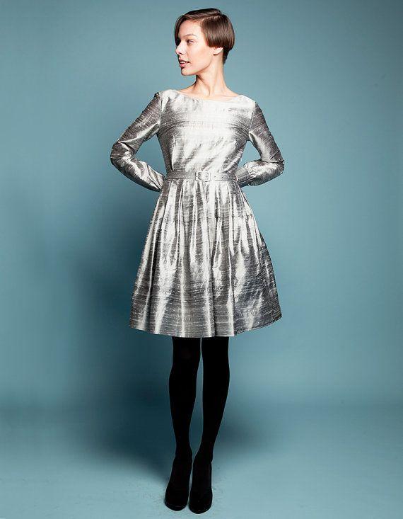 Steel gray cocktail dress
