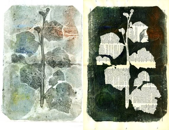 Gelatin mono prints using pressed plants onto vintage dictionary pages (88editions etsy shop, owner/artist Kelly Tankersley)