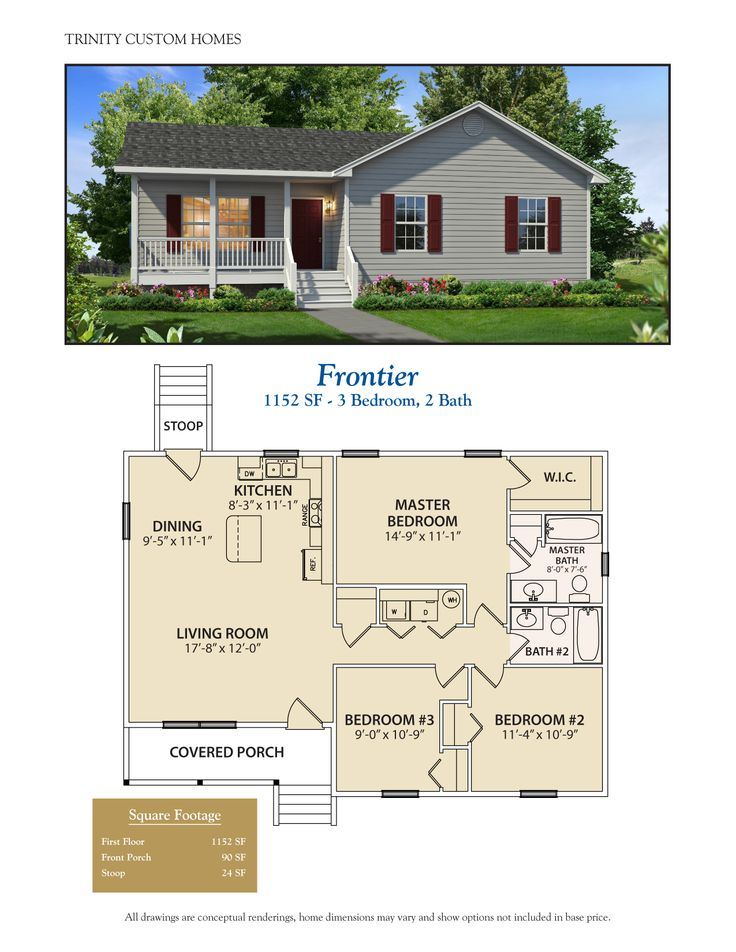 Cute, functional small house cottage cabin plan. Less than 1200 sq ft.