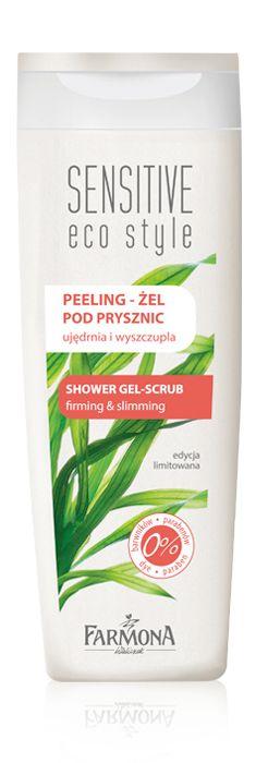SHOWER GEL-SCRUB firming & slimming   Wyjątkowo delikatny żel pod prysznic z peelingiem przeznaczony jest do mycia i codziennej pielęgnacji każdego rodzaju skóry, również wrażliwej ♥ http://farmona.pl/produkty/pielegnacja-ciala/sensitive-eco-style/peeling-zel-pod-prysznic/