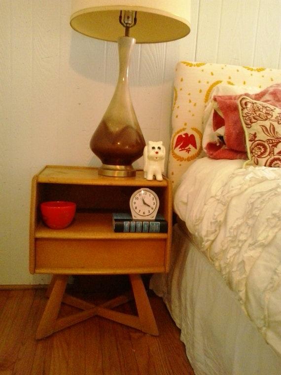 heywood wakefield sculptura bedroom set vintage crossed leg end table twin