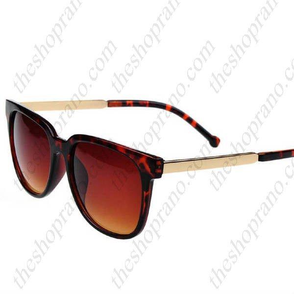 Γυαλιά ηλίου ρετρό στυλ κοκκάλινα με χρυσό βραχίονα και φακό UV400