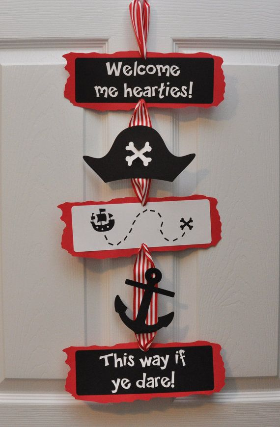 Anniversaire Pirate Party porte panneau bienvenue Me Hearties