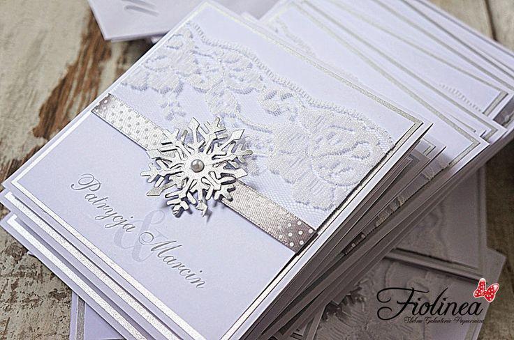 Fiolinea - Ślubna Galanteria Papiernicza: Zimowe zaproszenia z lekkim folkowym akcentem