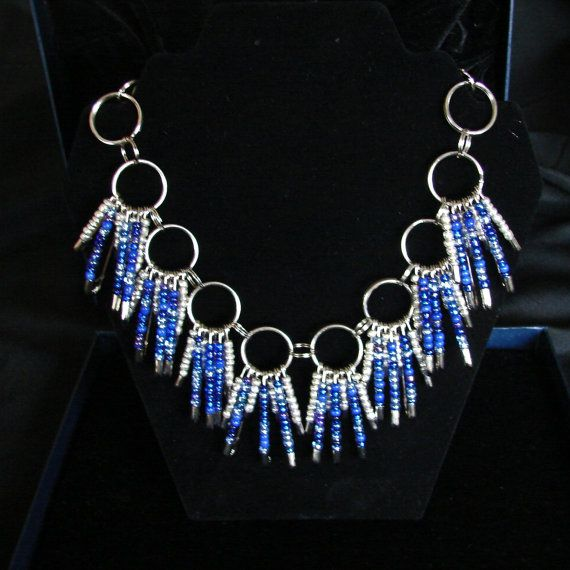 Beaded safety pin necklace 2 sizes by SandKKreations on Etsy, $20.00
