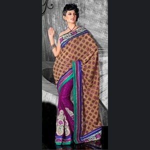 Brown & Purple Embroidered Saree