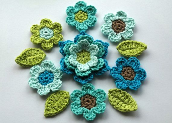 Crochet Applique : Crochet Applique Flower Set in Cool Blues by AnnieDesign on Etsy, $12 ...