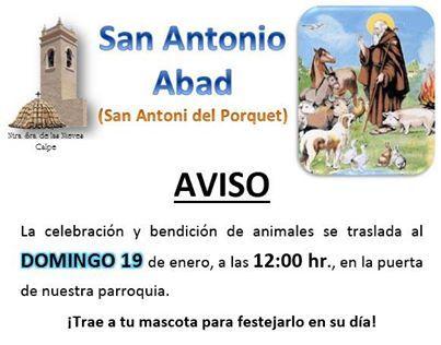 Fiesta de San Antonio Abad en #Calpe el domingo 19 a las 12:00h. trae tu mascota!!